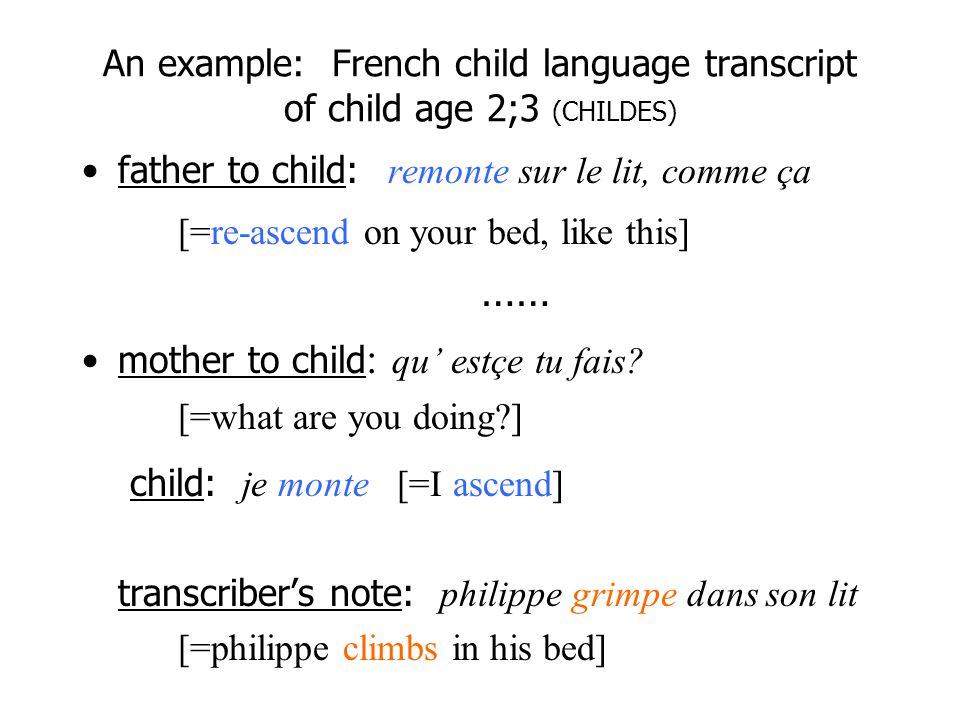 child: je monte [=I ascend]
